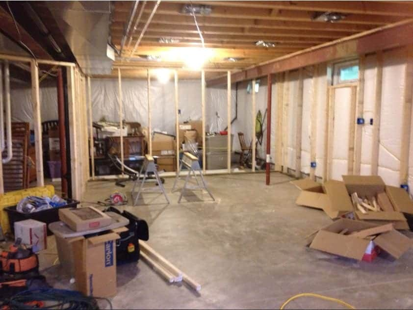Basement remodel floor plan during construction