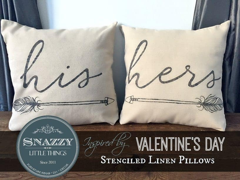 Stenciled Linen Pillow Covers 1