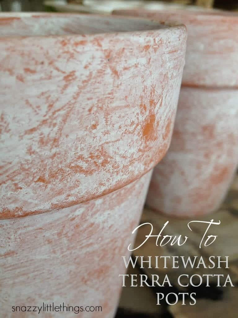 Terracotte Pot Whitewashed | by SnazzyLittleThings.com