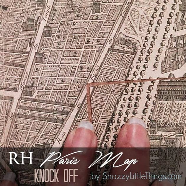 Restoration Hardware Knock Off - Paris Map Tutorial | by SnazzyLittleThings.com