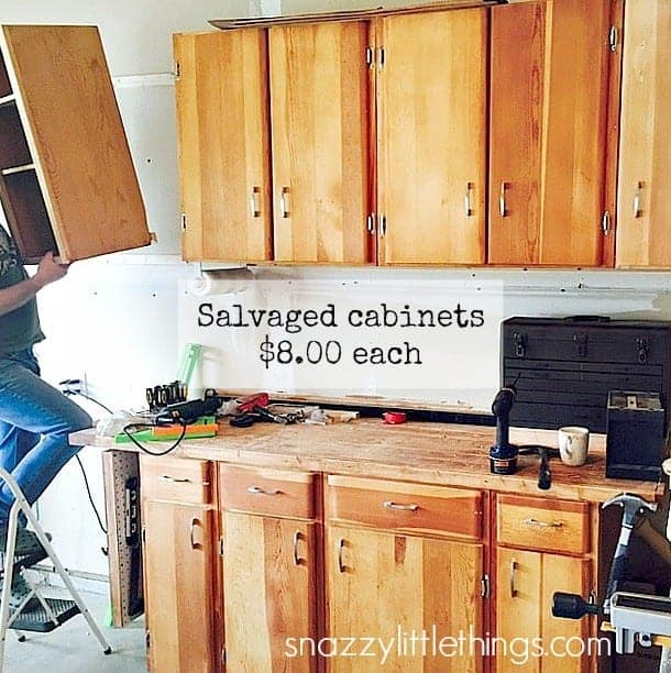 Woodshop from Salvaged Cabinets | by SnazzyLittleThings.com
