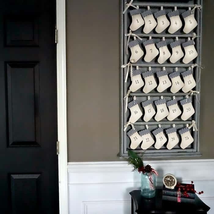Upcycled Advent Calendar and newly painted Black Doors