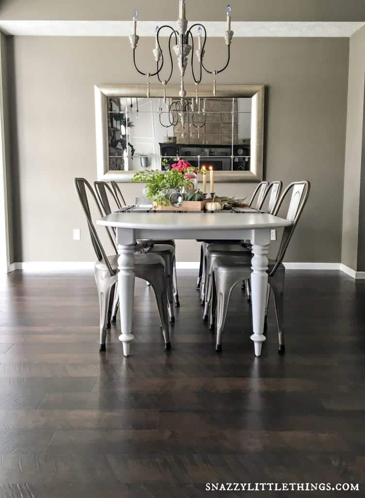 Pergo flooring dining room reveal snazzy little things for Dining room flooring